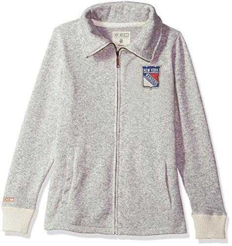 (adidas NHL New York Rangers Womens CCM Fleece Track Jacketccm Fleece Track Jacket, Grey Heathered, Medium)