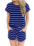 MIHOLL Women's Summer Striped Jumpsuit Casual Loose Short Sleeve Jumpsuit Rompers (Blue, X-Large)