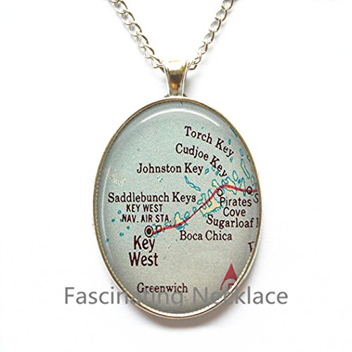 Charming Necklace Florida Keys map Necklace, Lower Keys, Key West Pendant, Florida Keys Pendant, Key West map ()