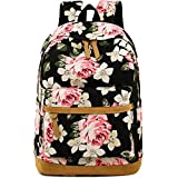 Backpack for Girls Canvas School Rucksack Floral 15'' Laptop bookbag for Women College Bookbags Travel Daypack (Black - Floral)