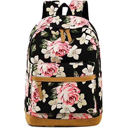 (Backpack for Girls Canvas School Rucksack Floral 15 inches Laptop bookbag for Women College Bookbags Travel Daypack (Black -)