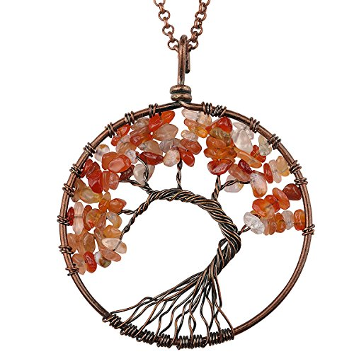 Haoflower Tree of Life Gemstone Pendant Necklace Nature Stone Crystal Chakra Jewelry Boho Jewelry Mothers Day Gifts