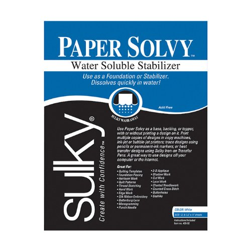 Sulky Of America NR-939 Sulky Paper Solvy Water Soluble Stabilizer, Each