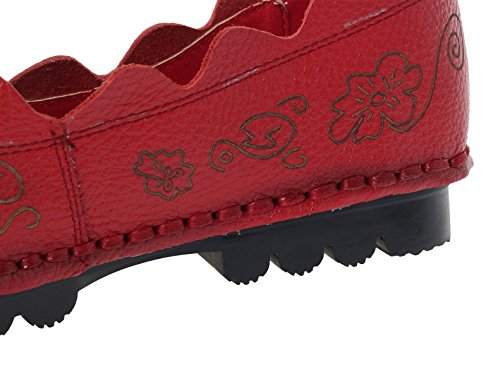 Womens Flat Fall Pattern New Shoes Style Mordenmiss 1 red Flower UxRwR