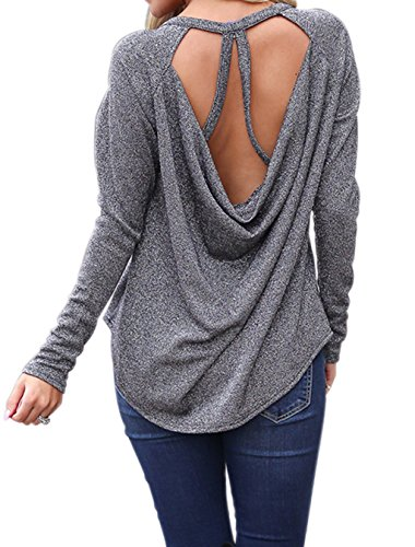 Backless Drape (Idgreatim Womens Sexy Backless Stretchy Open Back Top Drape Back Sport Shirt Sequin Club Tops Silver S)