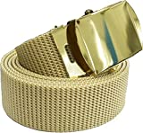 Nylon Canvas Web Belt Breathable Heavy Duty Military Tactical Waist Belt with Metal Buckle (54 inches, Khaki with Gold Buckle)