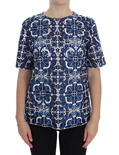 - Dolce & Gabbana Blue Floral Cutout Applique Majolica Blouse