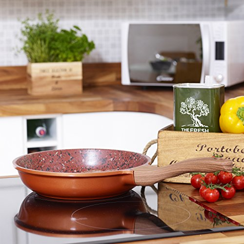 -[ Copper Non Stick Frying Pan with Premium High Performance Stone Coating Bakelite Wood Effect Han