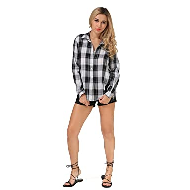 6e7cf26b Image Unavailable. Image not available for. Color: Geccinice Women Black  White Plaid Blouses Long Sleeve Autumn Elegant Lace Tops