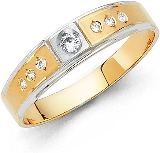FB Jewels 14K Yellow Gold Ring Round Cubic Zirconia CZ Mens Anniversary Wedding Band