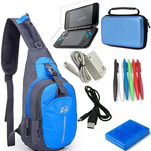 YB-OSANA 7 in 1 Backpack Crossbody Bag + New 2DS XL Wall Charger+ New 2DS XL Protective Bag+ Game Card Holder Case+New 2DS XL Stylus Pen+ USB Cable+Screen Protector Travel Kit for Nintendo New 2DS XL (3ds Backpack Nintendo Xl)