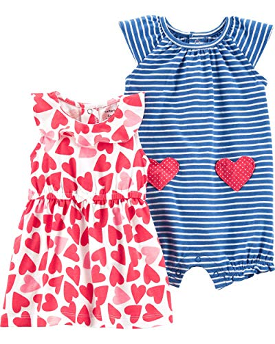 Striped Heart Dress - Carter's Baby Girls Heart Dress Striped Romper Set (12M) White and Blue