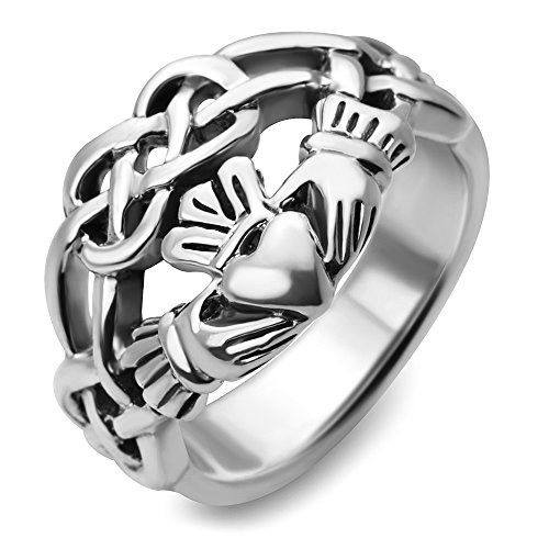 Sterling Silver Celtic Knot Infinity Symbol Claddagh Friendship and Love Wide Band Ring Size 7