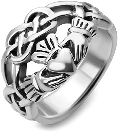 Sterling Silver Celtic Knot Infinity Symbol Irish Claddagh Friendship and Love 4 CM Wide Band Ring