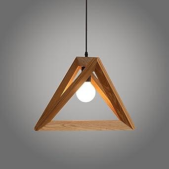 Weare Home Suspension Design Triangle en Bois Côté 32cm Style Contemporain  110-220V (Ampoules non inclus)-Corde Ajustable-Luminaire Suspension ...