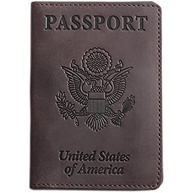 Shvigel Passport Holder - Cover and Travel Wallet Leather (Brown)