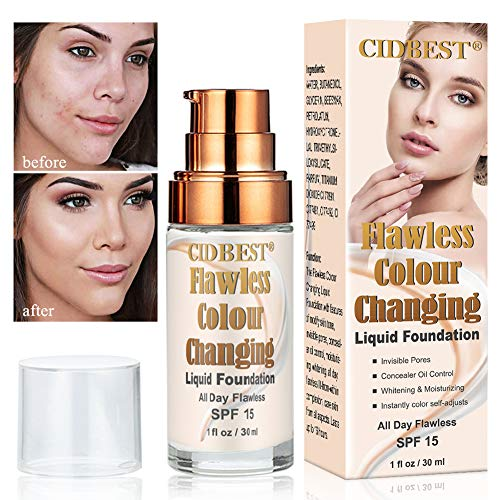 Flawless Finish Foundation, Foundation Cream, Finish Foundation-Colour Changing, Makeup Base Nude Face Moisturizing Liquid Cover, Suitable for ALL Skin Types, SPF15