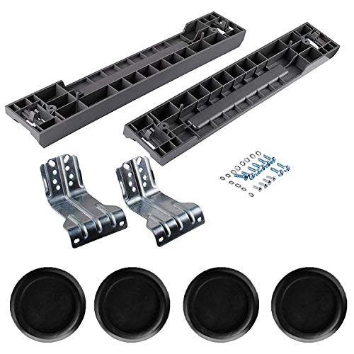SKK-7A Stacking Kit & JB6368 Washer Antivibration Pads (4PCS) by Podoy Compatible with Washers & Dryers 27 inch Front Load Laundry