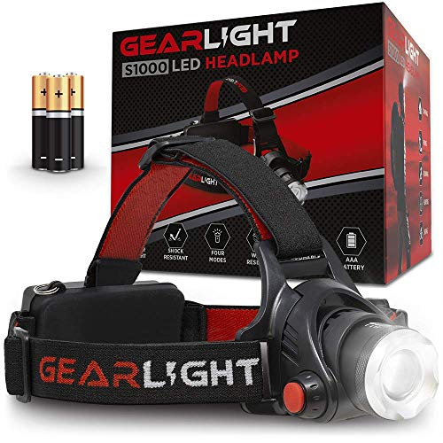 GearLight LED Headlamp Flashlight S1000 - Powerful Broadbeam Camping and Outdoor Headlamps - Construction Hardhat Compatible Safety Head Lamp -