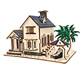 MIFX Woodcraft Construction Kit gift for children color design educational DIY toys 3D Wooden jigsaw puzzle assembly handmade wooden model (beach-house)