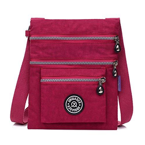 tianhengyi Nylon resistente de agua pequeño bolso bandolera bolsa de hombro multilayers Rojo