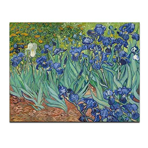 (Wieco Art Irises Extra Large Modern Gallery Wrapped Floral Giclee Canvas Prints By Van Gogh Famous Flowers Oil Paintings Reproduction Artwork Pictures on Canvas Wall Art for Bedroom Home Decorations)
