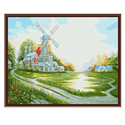 C.A.Z Diy oil painting by number kit Wooden Framed Home Wall Decoration Landscape Paintings on Canvas - Romantic Windmill Scenery 15.5