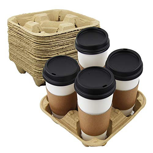 [45 Pack] Pulp Fiber Drink Carrier Tray Biodegradable 4 Cup Container Compostable Stackable Ecofriendly Carry Holder for Hot and Cold Drinks