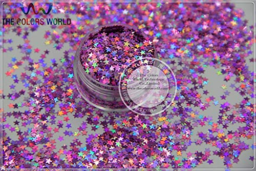 Kamas LM-91 Size 3 mm laser holographic Peach color Glitter paillette Stars shape spangles for Nail Art DIY supplies1pack=50g