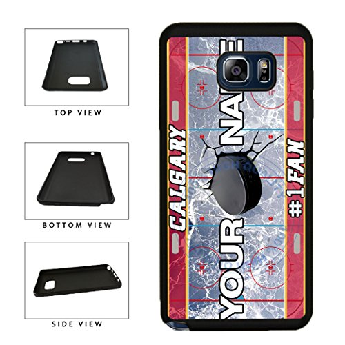 BleuReign(TM) Personalized Custom Name Hockey Team License Plate Calgary Phone Case TPU RUBBER SILICONE Phone Case Back Cover For Samsung Galaxy Note V (Calgary Flames Hybrid)