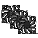 uphere 3-Pack Long Life Computer Case Fan 120mm Cooling Case Fan for Computer Cases Cooling,12BK3-3