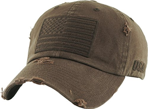 (KBVT-209 BRN Tactical Operator with USA Flag Patch US Army Military Baseball Cap Adjustable (Adjustable, (209) Brown))