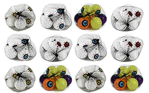 Set of 12 Bags of Bloodshot Eyeballs! Perfect for Halloween Games, Decor, or Beer Pong!(12 Bags of Eyeballs) ()