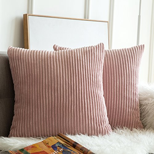 MIULEE Pack of 2, Corduroy Soft Soild Decorative Square Throw Pillow Covers Set Cushion Cases Pillowcases for Sofa Bedroom Car 20 x 20 Inch 50 x 50 cm (Decorative Pillows Peach)