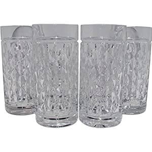 Lauren by Ralph Lauren Designer Barware Aston Highball Crystal Glasses Set of 4 Tall 13.5 Ounces Made In Germany