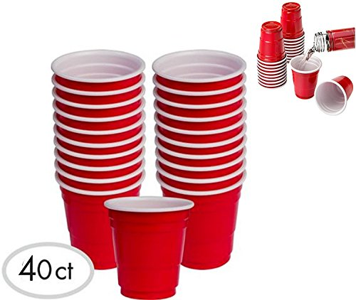 Jack Daniels Costume Men (JFullerton Mini Solo Cup 40 2oz Mini Red Plastic Shot Glasses Drinkware Redneck Party Cups)