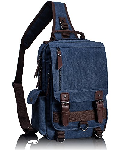 Flap Single Handle - Leaper Canvas Messenger Bag Sling Bag Cross Body Bag Shoulder Bag Dark Blue, L