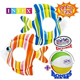 "Matty's Toy Stop Inflatable Tropical Fish Swim Rings (32.5"") Blue/Green & Orange/Pink Gift Set Bundle with Bonus 16"" Beach Ball - 2 Pack"