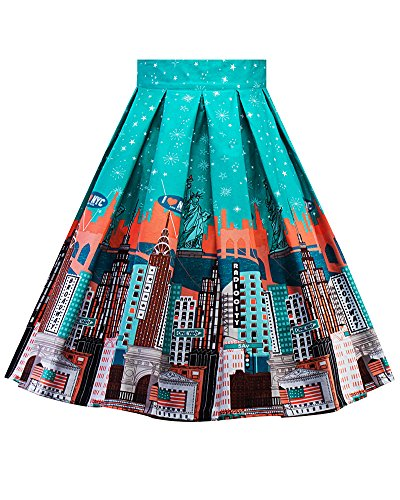 Style Jupe 13 Femme Plisss Imprime Patineuse Line Rtro Vintage Picture As Jupe Floral A Jupe WrqYg8rPA