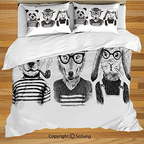 (Animal Queen Size Bedding Duvet Cover Set,Hipster Panda Bear Cigar Fox and Rabbit Glasses in Human Clothes Illustration Decorative 3 Piece Bedding Set with 2 Pillow Shams,Black Grey White)