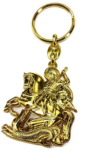 (Stainless Golden Metal Saint St George Keychain Christian Key Ring)