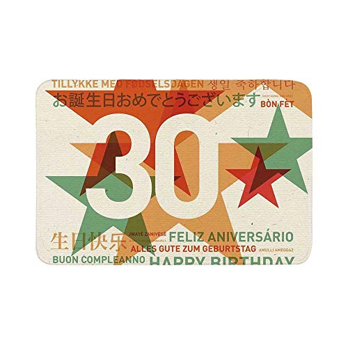 C COABALLA 30th Birthday Decorations Durable Door Mat,Happy Birthday Celebration in Different Languages from The World for Living Room,17.7