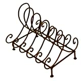 Iron Black Scroll Design Five Slot Footed Standing Plate Holder Rack