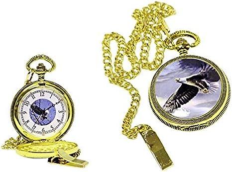 Bolsillo con Tapa y diseño de Salto de Cuarzo + Caja de Regalo Decorativo águila: Amazon.es: Relojes