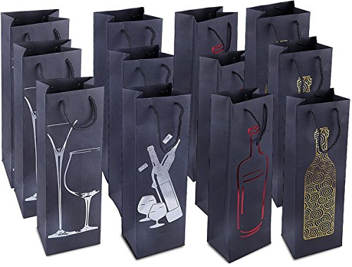 Wine Gift Bags - 12-Pack Premium Wine Bottle Bags - Spirits, Liquor, Champagne Gift Bags with Handles for Anniversary, Birthday, Housewarming, Dinner Party - 4 Foiled Design, 4.7 x 3.7 x 15.5 Inches