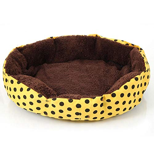 (feelfly Pet Round Cushion Bed Warm Cotton Puppy Bed Dot Pattern Mat for Cats Dogs Sleeping Sniffing Playing)