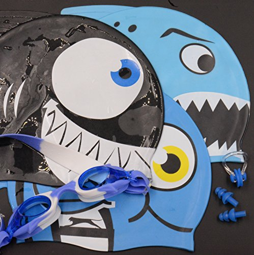 Swim Goggles w/ Fish & Shark Caps (3) [Boys Water Fun Gift Set] + Ear Plugs (1 Set) and Nose Clip (1) - Great Present For Young Swimmer by Yabber