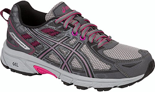 ASICS Women's Gel-Venture 6 Running-Shoes,Carbon/Black/Pink Peacock,6.5 Medium US