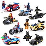 Aurookeb Superheroes with War Chariot Assembling Block Toys Pack of 8 / 1.9-inches (plastic)
