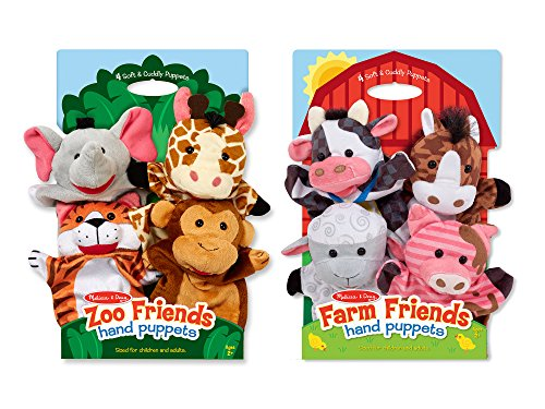 (Melissa & Doug Animal Hand Puppets (Set of 2, 4 animals in each) - Zoo Friends and Farm Friends)